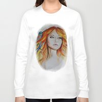 jennifer lawrence Long Sleeve T-shirts featuring Jennifer Lawrence Watercolor (Light) by Halinka H