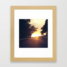 Driving Into The Sunset Framed Art Print