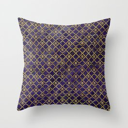 Gold Chinese Double Happiness Symbol pattern on amethyst Throw Pillow