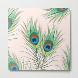 Unique Peacock Feathers Pattern Metal Print