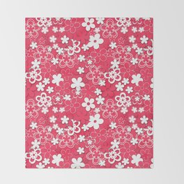 Red and white paper flowers 1 Throw Blanket
