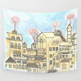Space Town Wall Tapestry
