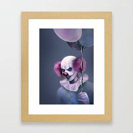 Evil Clown with Balloons Framed Art Print
