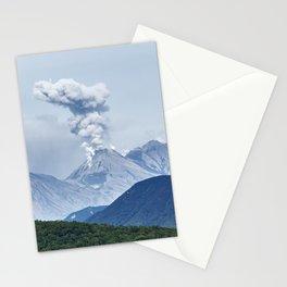 Beautiful summer volcanic landscape of Kamchatka - eruption active Zhupanovsky Volcano Stationery Cards