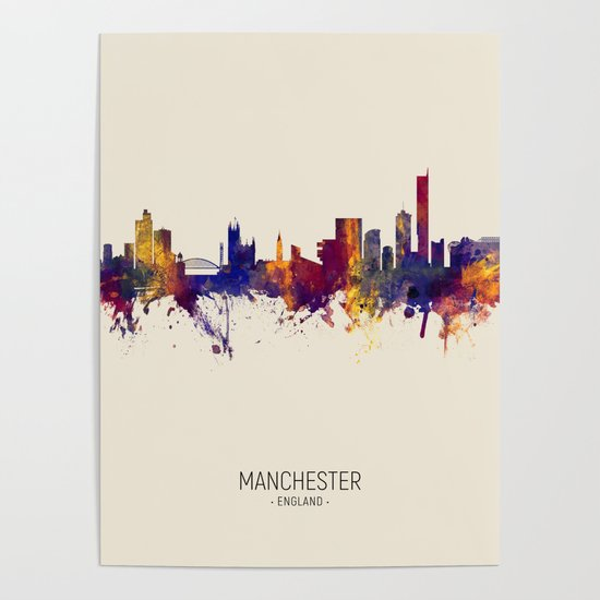 Manchester England Skyline Poster By Artpause Society6