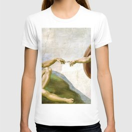 The Creation of Adam Painting by Michelangelo Sistine Chapel T-shirt