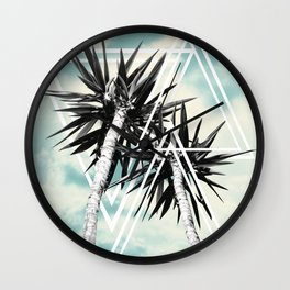 Cali Summer Vibes Palm Trees Geometric Triangles #1 #tropical #decor #art #society6 Wall Clock