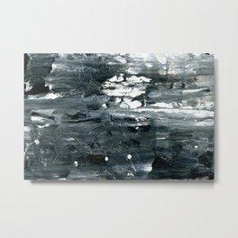 Tear B Black & White Textured Abstract no.1808 Metal Print