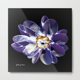 Blue & Gold Flower Metal Print