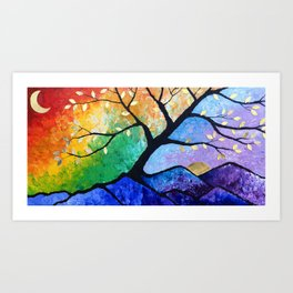 The Magic Within Tree and Mountain and Rainbow Painting Art Print