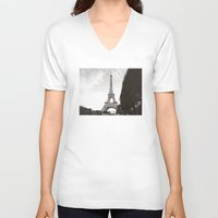 eiffel V-neck T-shirts featuring eiffel by samantha lawson