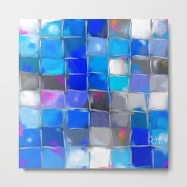 Mosaic / Abstract Art ' BLue SKieS ' BY SHiRLeY MacARTHuR Metal Print