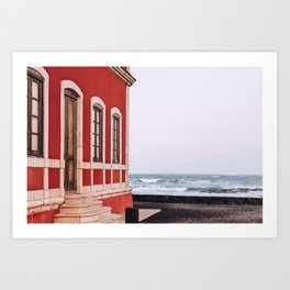 The vintage front door | Pink pastel house at Spanish coast, Canary Islands | Calm, colourful fine art travel photography art print Art Print
