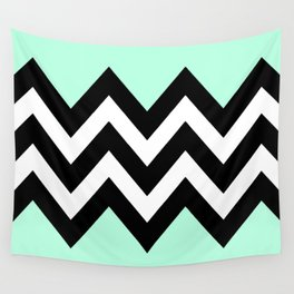 DOUBLE COLORBLOCK CHEVRON {MINT/BLACK} Wall Tapestry