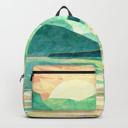 Spring Sunset over Emerald Mountain Landscape Painting Backpack