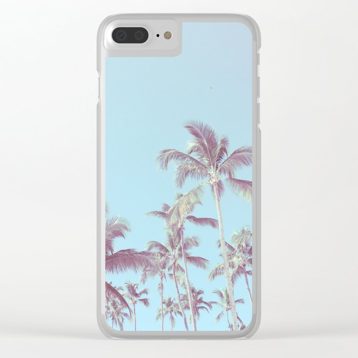 Vintage palm trees (blue) Clear iPhone Case