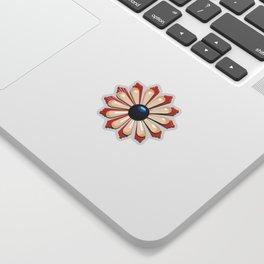 Vintage Art Deco Flower Enamel Pin (Red & Blue) Sticker