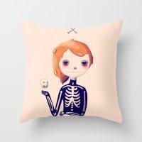 bones Throw Pillows featuring Bones by Nan Lawson