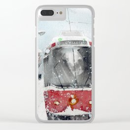 Toronto Streetcar in the Snow Clear iPhone Case