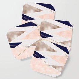 Rose gold french navy geometric Coaster