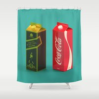 whisky Shower Curtains featuring Whisky Cola by Maxim Kirienko Art