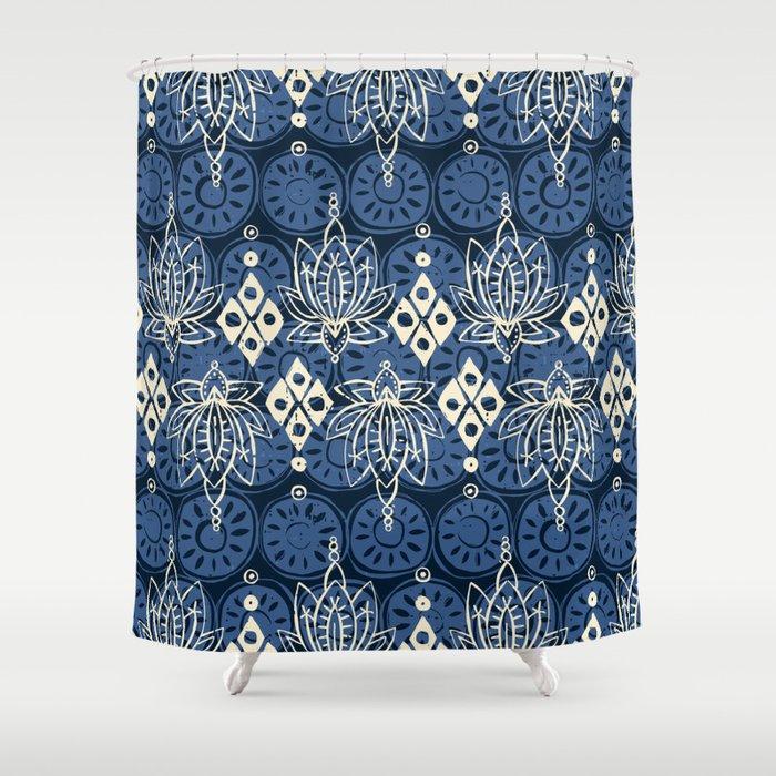 Lotus Diamond Indigo Shower Curtain