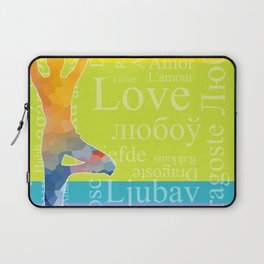 Simple silhouette of woman doing yoga with word Love in different languages Laptop Sleeve