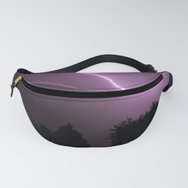 Purple Lightning Night Sky Fanny Pack