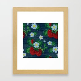 Strawberries and Daisies - Strawberry Patch  - Fruit Framed Art Print