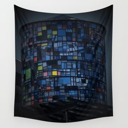 Stained glass water tower Wall Tapestry