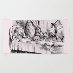 Blush pink - mad hatter's tea party Beach Towel