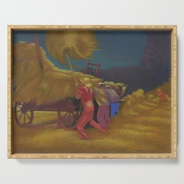 Race Against the Rain - Haying Before the Storm landscape painting by Bernard Steffen Serving Tray
