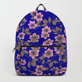 Abstract blush pink brown sky blue flowers Backpack