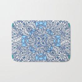 Nature Tangle - vintage botanical pattern in blue, teal & aqua Bath Mat