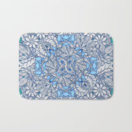 Nature Tangle - vintage botanical pattern in blue, teal & aqua Bath Mat