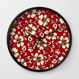 Malia Hawaiian Hibiscus Aloha Shirt Print Wall Clock