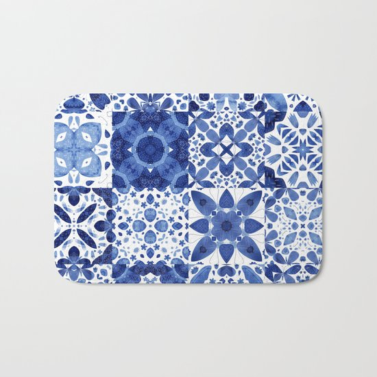 Indigo Watercolor Tiles Bath Mat