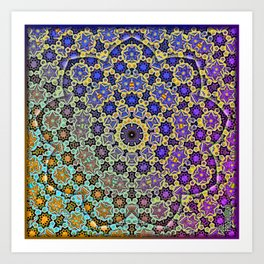 Nine patterned star  Art Print
