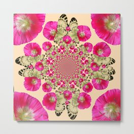 modern art cerise pink hollyhock & yellow butterflies Metal Print