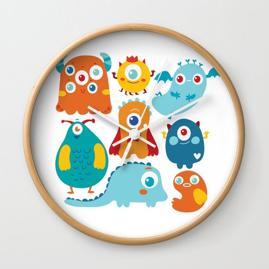 Aliens and monsters pattern Wall Clock