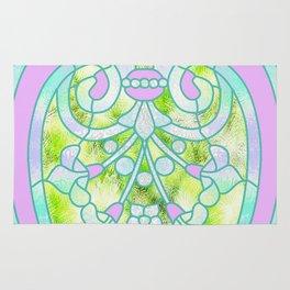 Art Nouveau Lime Green and Pink Batik Design Rug