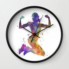 Woman runner jogger jumping powerful Wall Clock