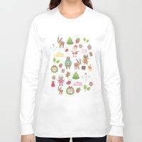 merry christmas Long Sleeve T-shirts featuring Merry Christmas by Anna Alekseeva kostolom3000