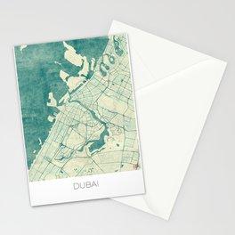 Dubai Map Blue Vintage Stationery Cards