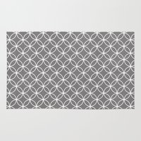 gray pattern Area & Throw Rugs featuring wedding ring pattern-gray by Beverly LeFevre