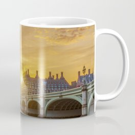 View of the sunset behind Palace of Westminster and Big Ben - London Coffee Mug