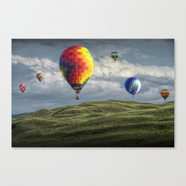 Hot Air Balloons over Green Fields Canvas Print