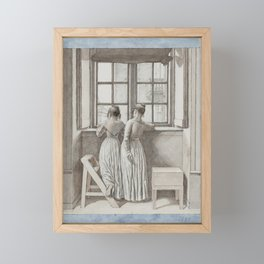 Christoffer Wilhelm Eckersberg - At a Window in the Artist's Studio Framed Mini Art Print