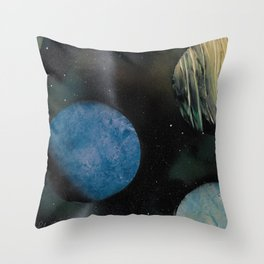 Loads of Planets - Spacescape - Spray Paint Art Throw Pillow