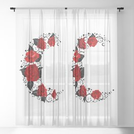Moon of Red Roses Sheer Curtain